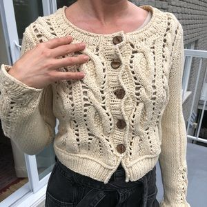 Sweaters - Cable-Knit cardigan sweater